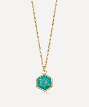 18ct Gold Plated Vermeil Silver Deco Amazonite Pendant Necklace