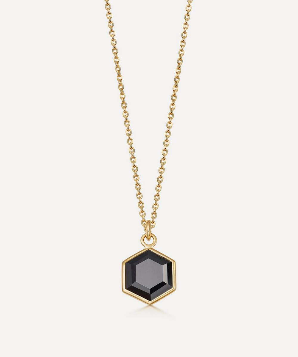 Astley Clarke 18ct Gold Plated Vermeil Silver Deco Black Spinel Pendant Necklace