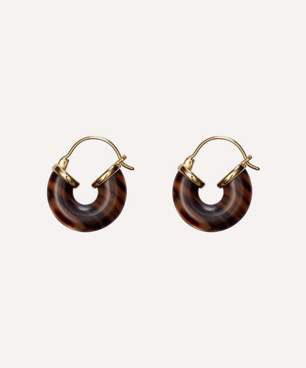 ANNI LU - Gold-Plated Eye of the Tiger Resin Hoop Earrings