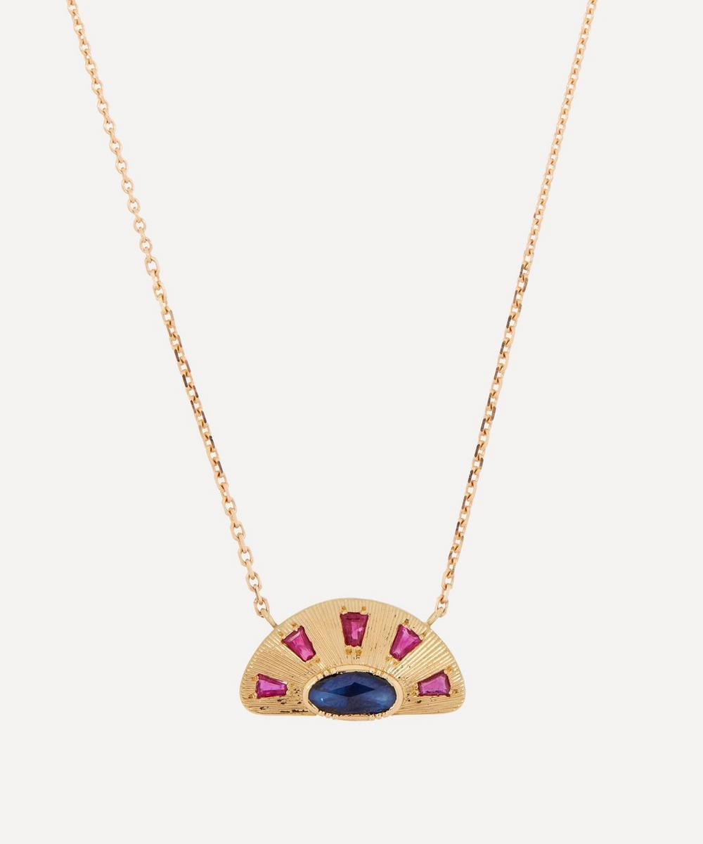 Brooke Gregson - 18ct Gold Engraved Sun Ray Sapphire Pendant Necklace
