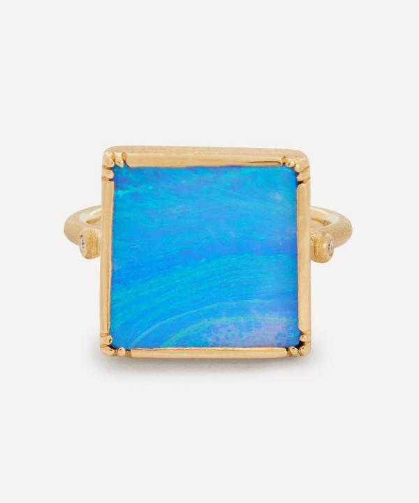 Brooke Gregson - 18ct Gold Square Boulder Opal Ring