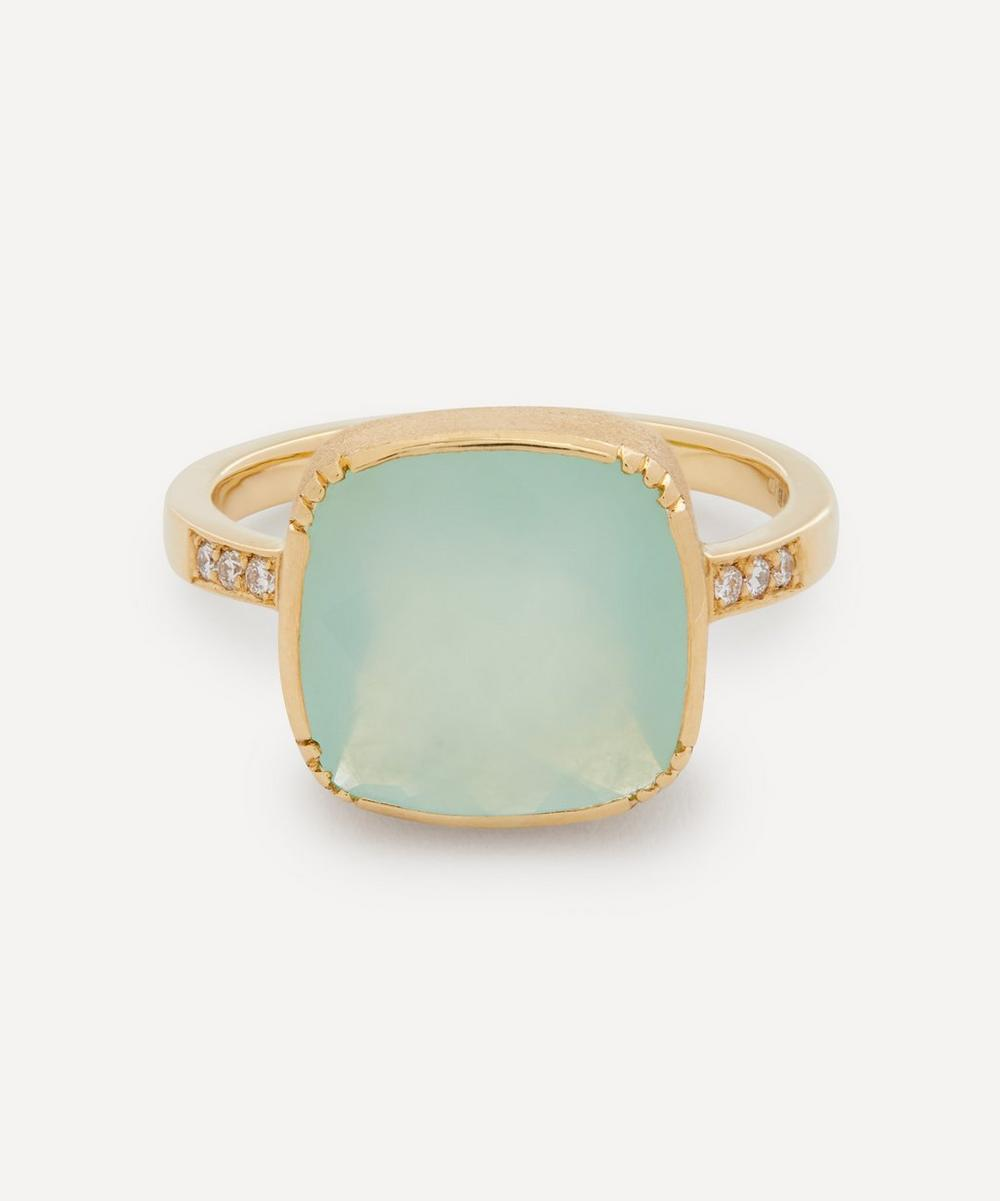 Brooke Gregson - 18ct Gold Square Peruvian Opal and Pavé Diamond Ring