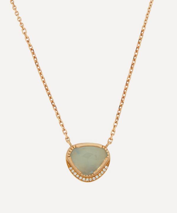 Brooke Gregson - 18ct Gold Orbit Aquamarine and Diamond Halo Pendant Necklace