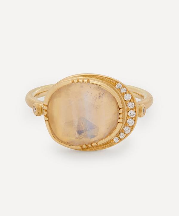 Brooke Gregson - 18ct Gold Orbit Moonstone and Diamond Halo Ring