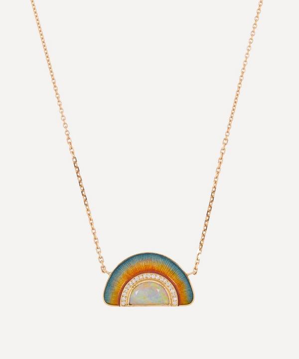 Brooke Gregson - 18ct Gold Sunrise Opal and Diamond Enamel Pendant Necklace