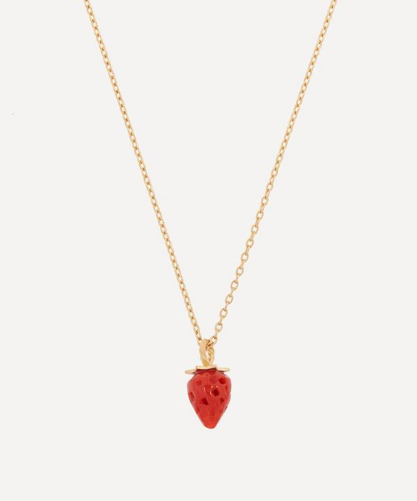 Grainne Morton - Gold-Plated Coral Strawberry Lariat Necklace