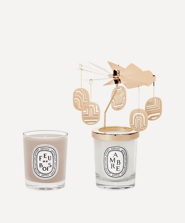 Diptyque - Feu de Bois and Ambre Candle and Carousel Gift Set
