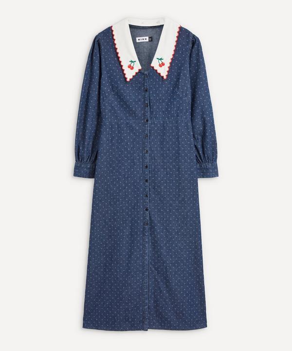 RIXO - Becca Denim Polka Dot Collared Midi Dress