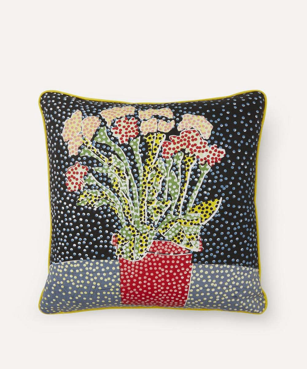 Beth Postle - Midnight Potted Plant Handprinted Cushion