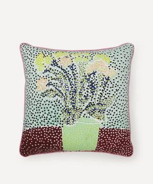 Spring Potted Plant Handprinted Cushion
