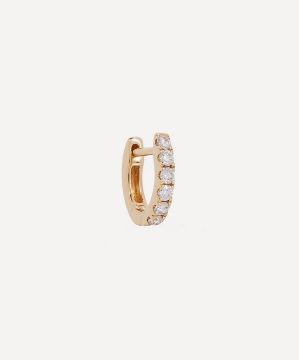 Roxanne First - 14ct Gold Small Chubby Diamond Single Huggie Hoop Earring