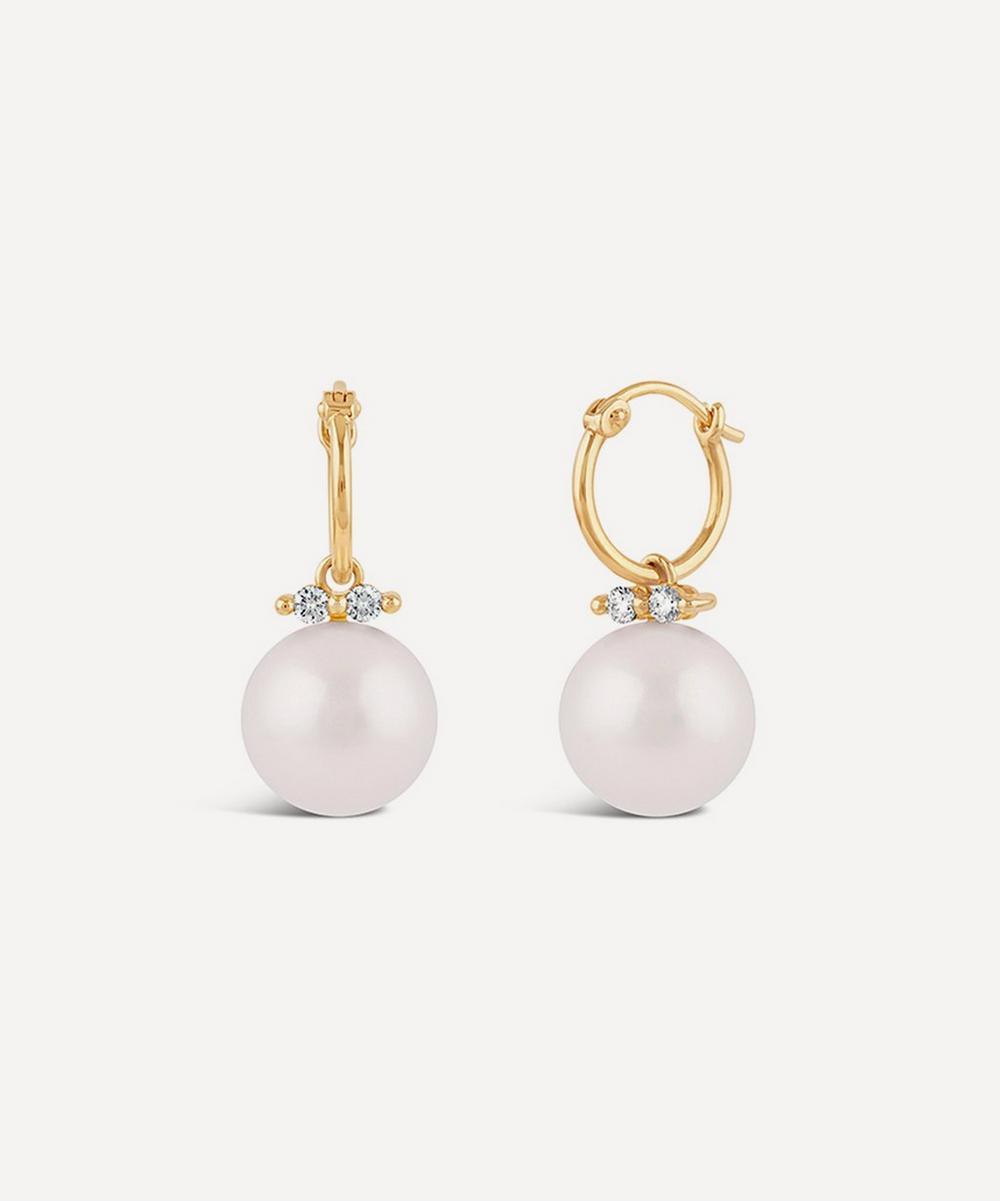 Dinny Hall - 14ct Gold Shuga Large Pearl and Diamond Drop Hoop Earrings