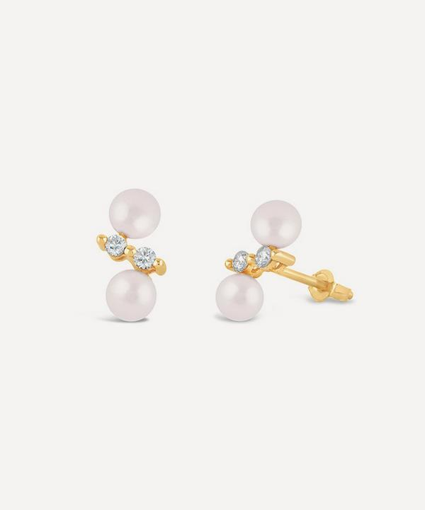 Dinny Hall - 14ct Gold Shuga Double Pearl and Diamond Stud Earrings