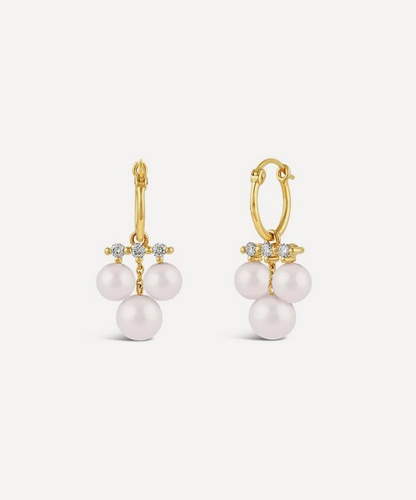 Dinny Hall - 14ct Gold Shuga Triple Pearl and Diamond Drop Hoop Earrings