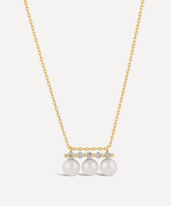 Dinny Hall - 14ct Gold Shuga Triple Pearl and Five Diamond Pendant Necklace