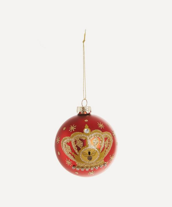 Unspecified - Matte-Red Glass Bauble with Crown and Bee Motif