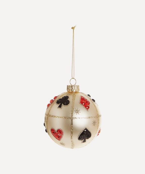 Unspecified - Matte White Bauble with Playing Cards Motif