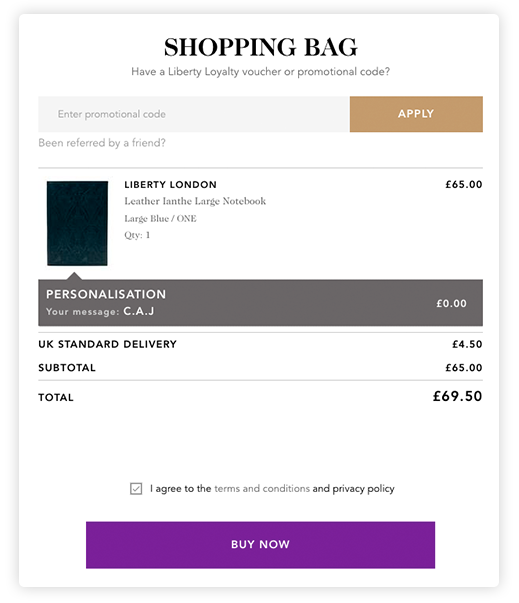 Personalisation pop-up on product page