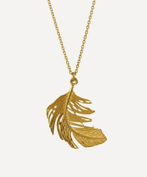 Gold-Plated Big Feather Pendant Necklace