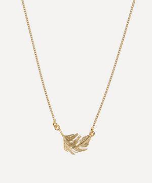 Gold-Plated Little Feather Inline Pendant Necklace