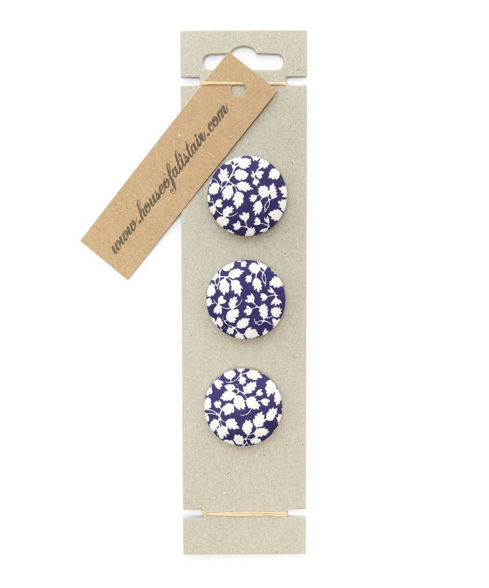 Liberty - Three Berry Fabric Buttons on Card