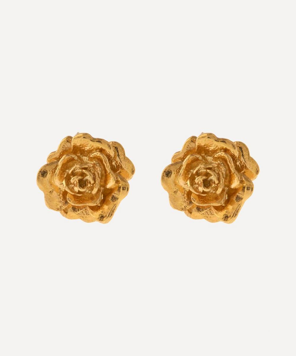 Gold-Plated Rose Damasca Stud Earrings