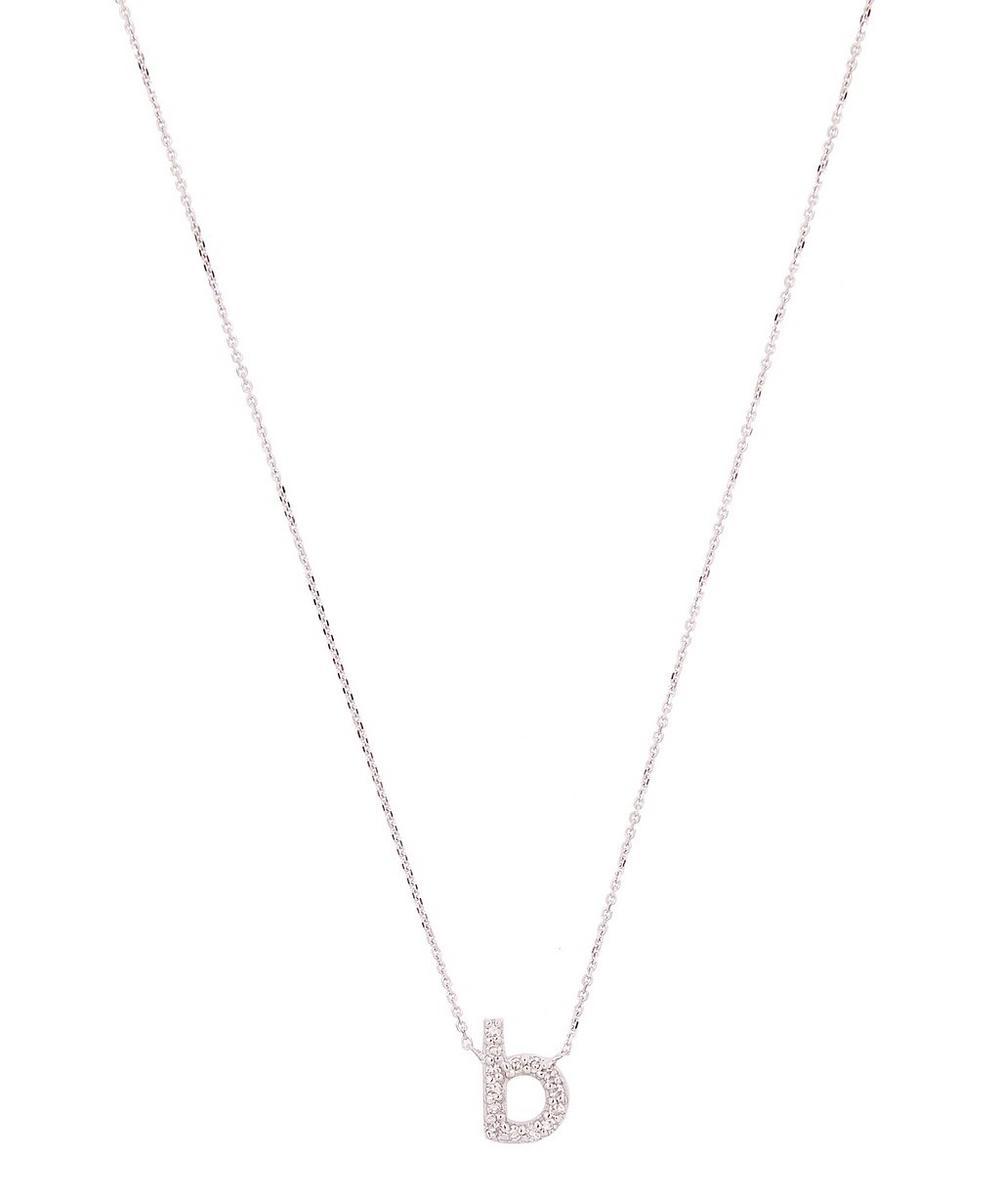 White Gold Diamond Letter B Necklace
