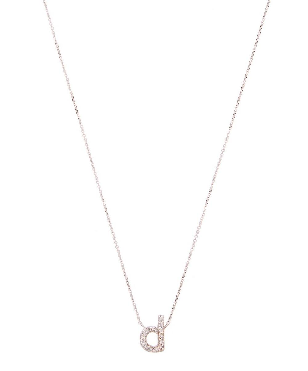 White Gold Diamond Letter D Necklace