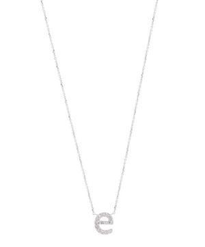 White Gold Diamond Letter E Necklace