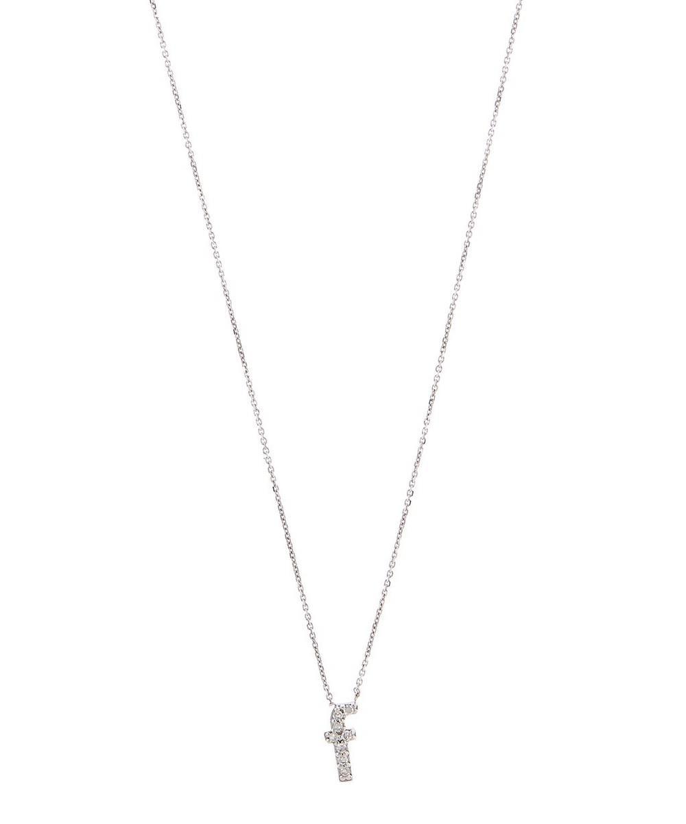 White Gold Diamond Letter F Necklace