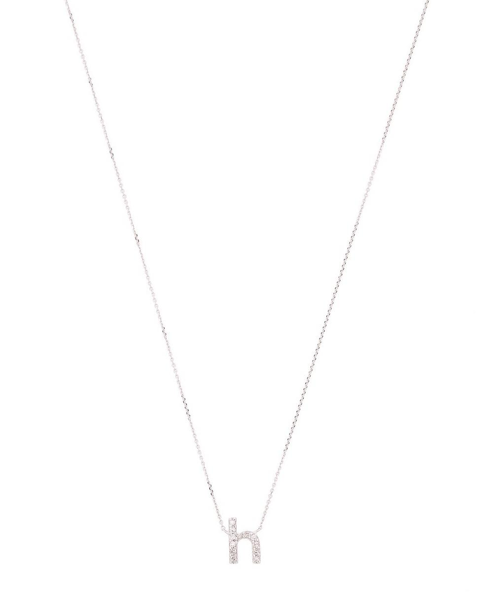 White Gold Diamond Letter H Necklace