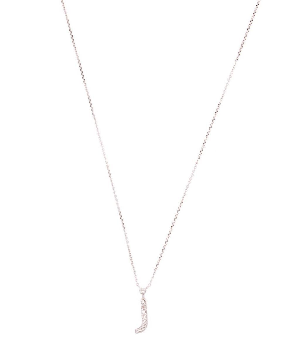 White Gold Diamond Letter J Necklace