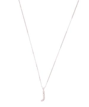 White Gold Diamond Letter J Necklace