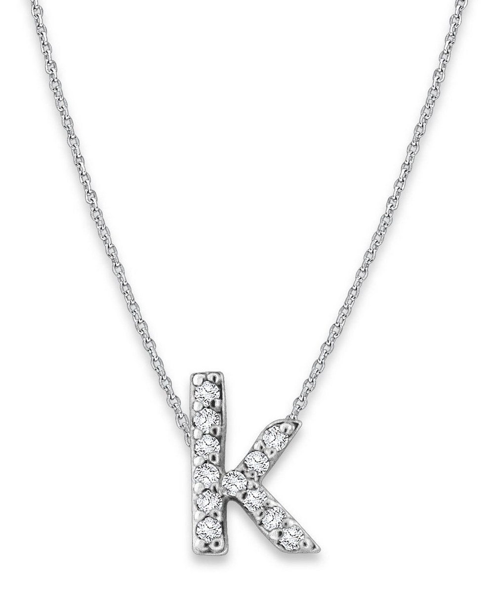 White Gold Diamond Letter K Necklace
