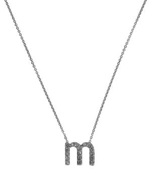 White Gold Diamond Letter M Necklace