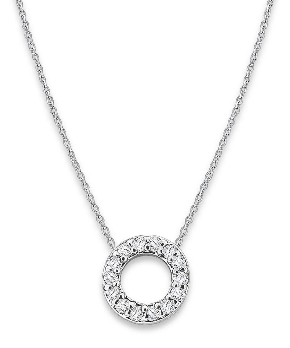 White Gold Diamond Letter O Necklace