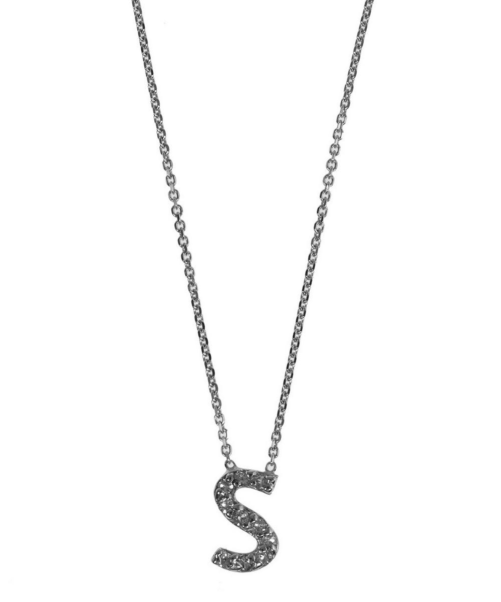 White Gold Diamond Letter S Necklace