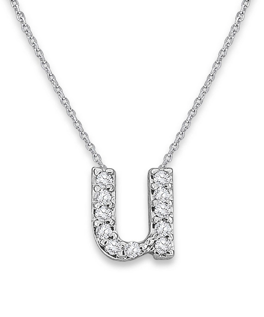 White Gold Diamond Letter U Necklace