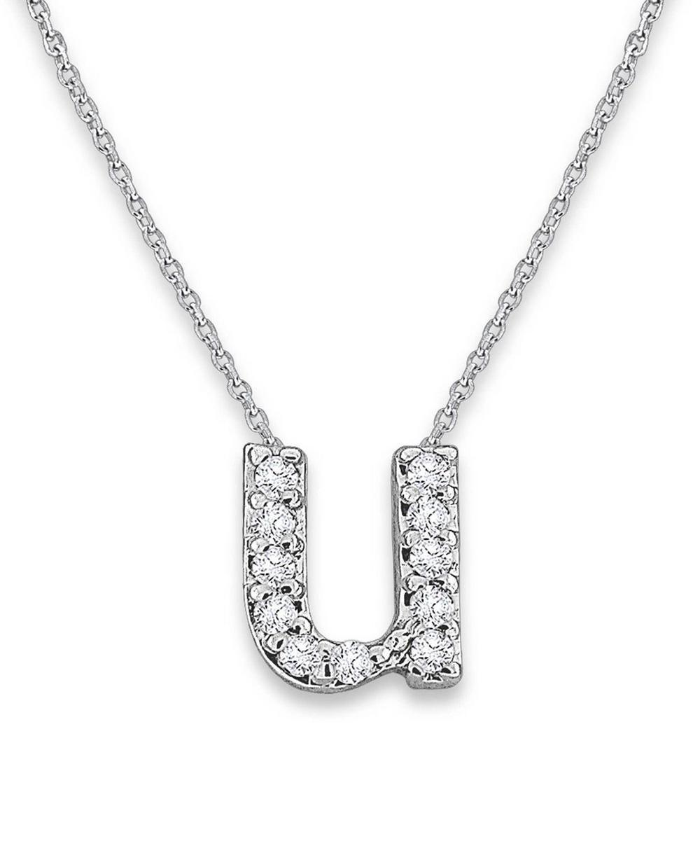 White Gold Diamond Letter U Necklace