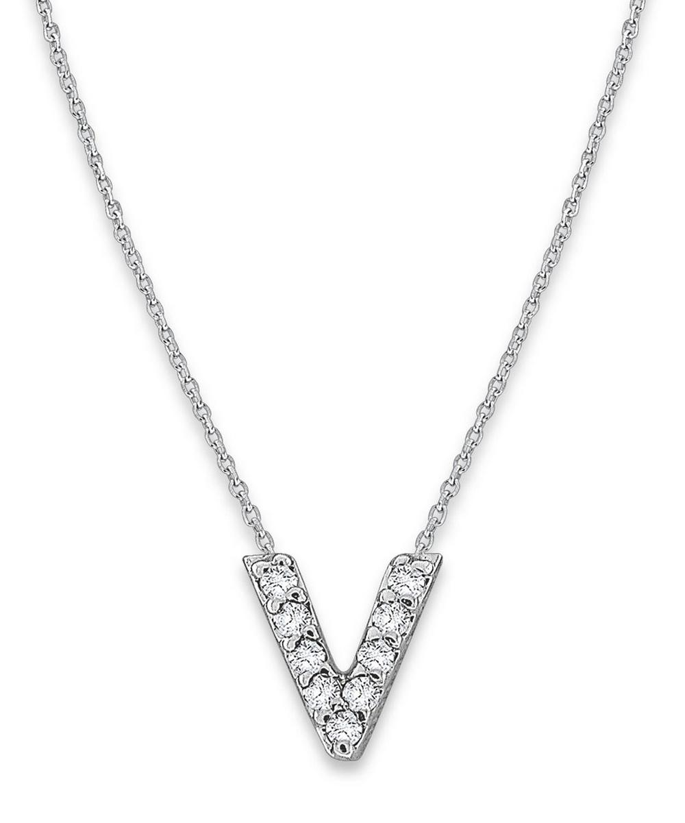 White Gold Diamond Letter V Necklace