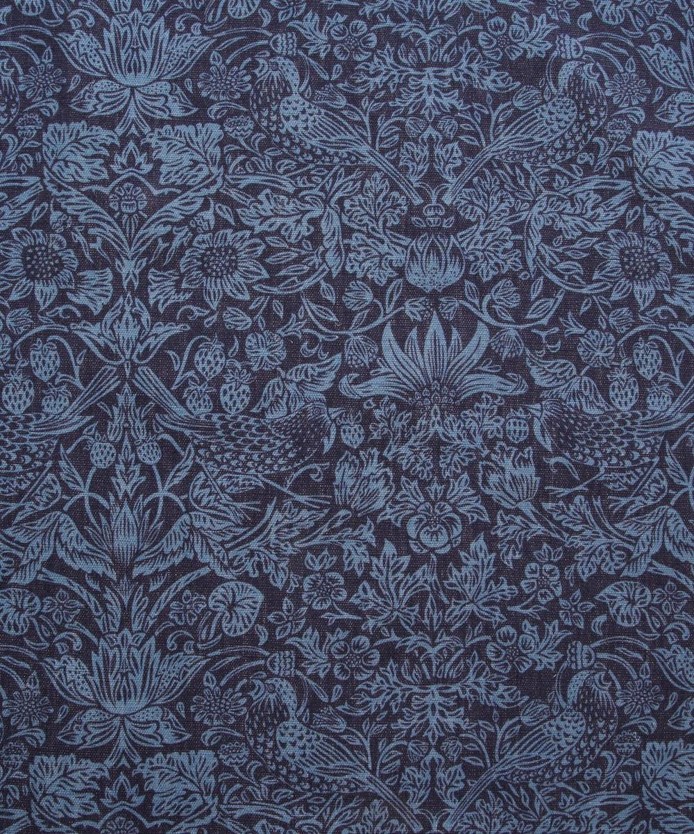 Blue Strawberry Meadow Print Linen Union