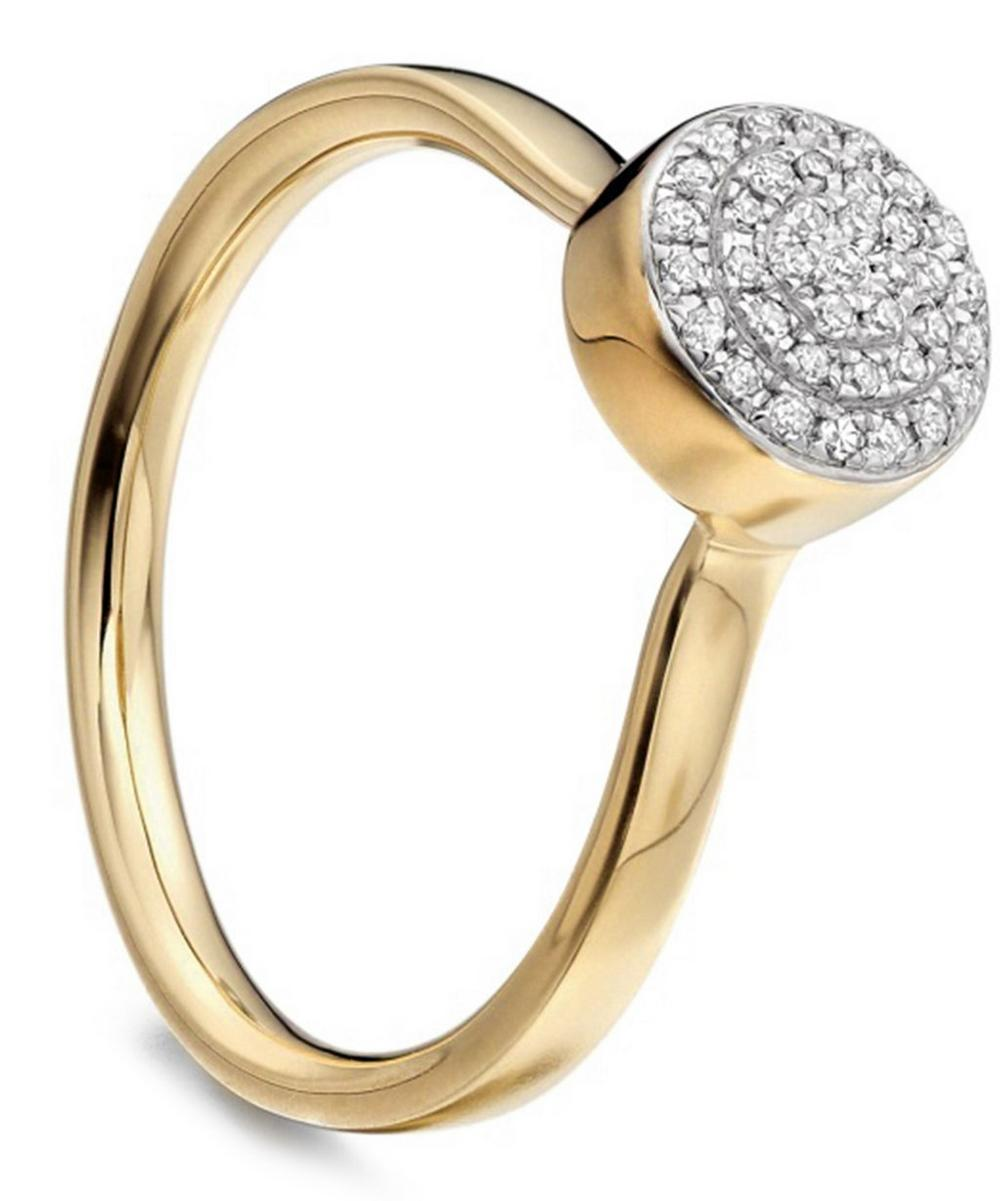 Gold Vermeil Diamond Ava Button Ring
