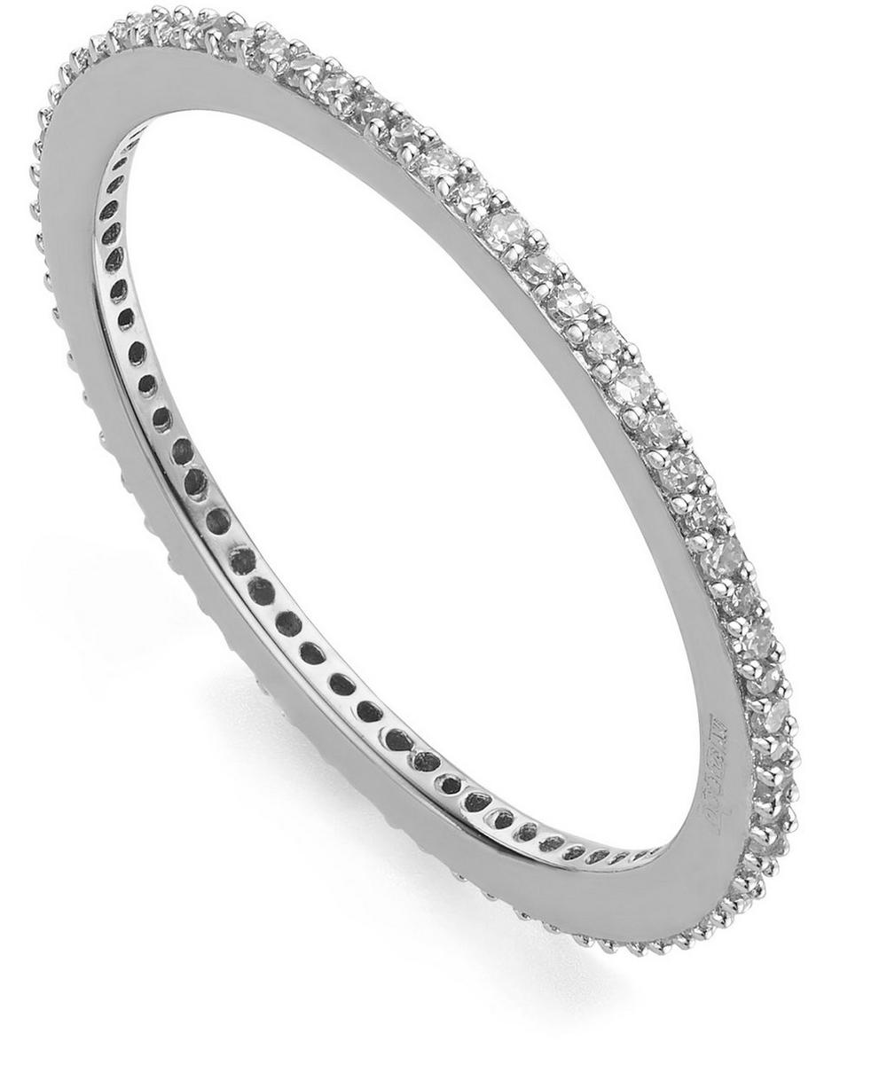 Silver Diamond Skinny Eternity Ring