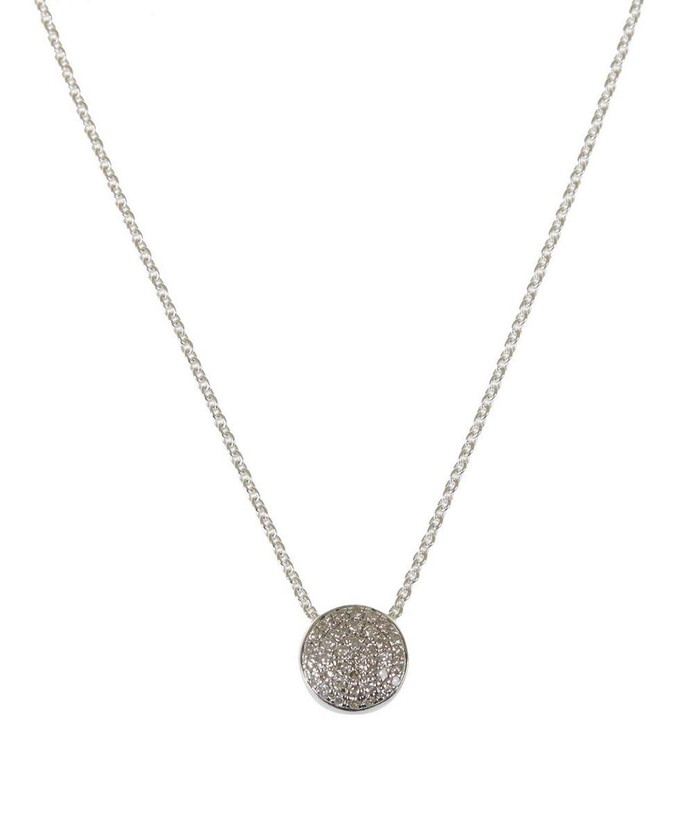 Silver Diamond Ava Button Necklace