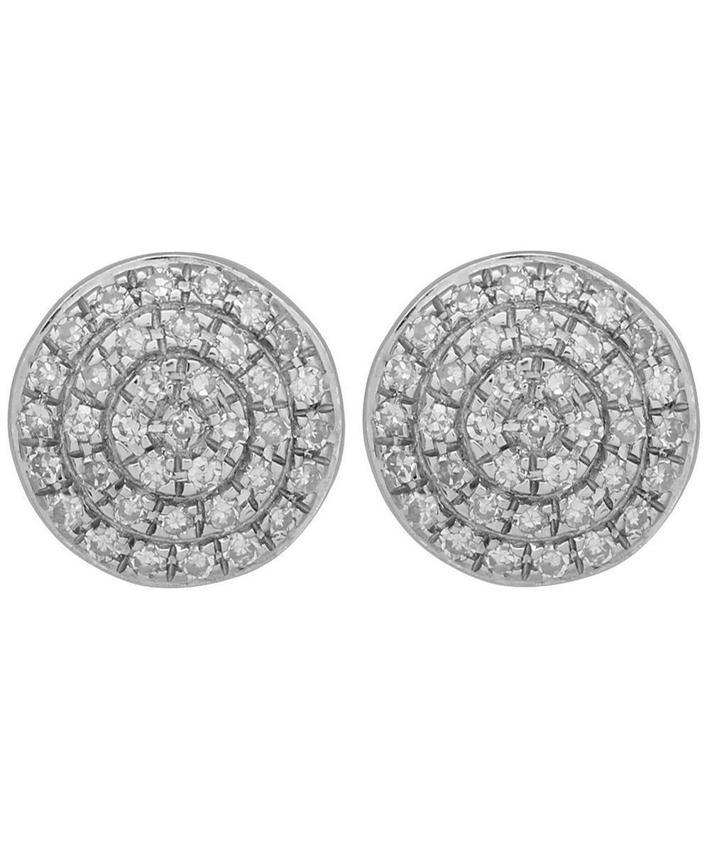 Silver Diamond Ava Button Stud Earrings