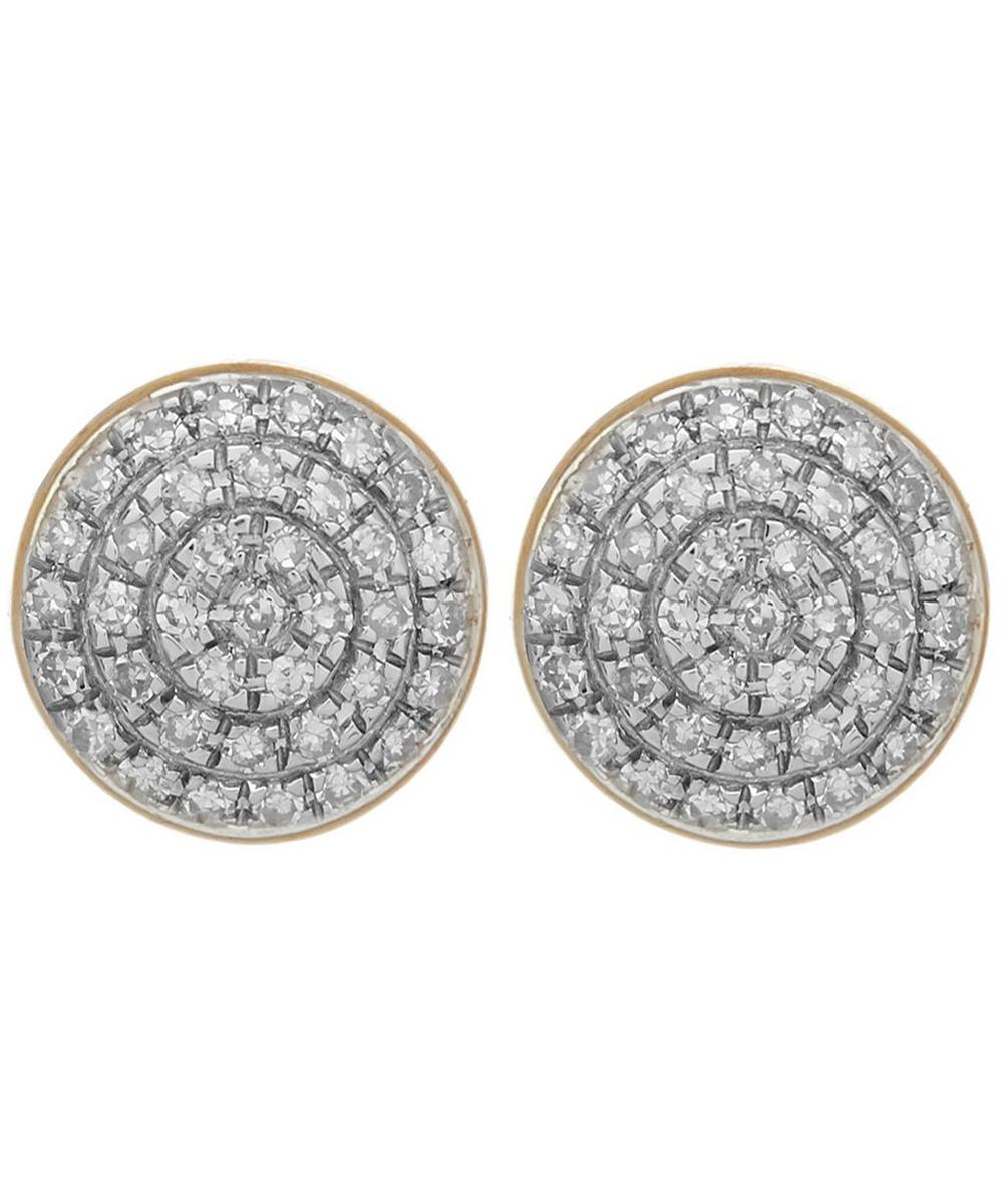 Gold Vermeil Fiji Diamond Button Stud Earrings