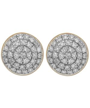Gold Vermeil Diamond Ava Button Stud Earrings