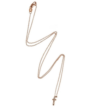 Rose Gold Diamond Letter F Necklace