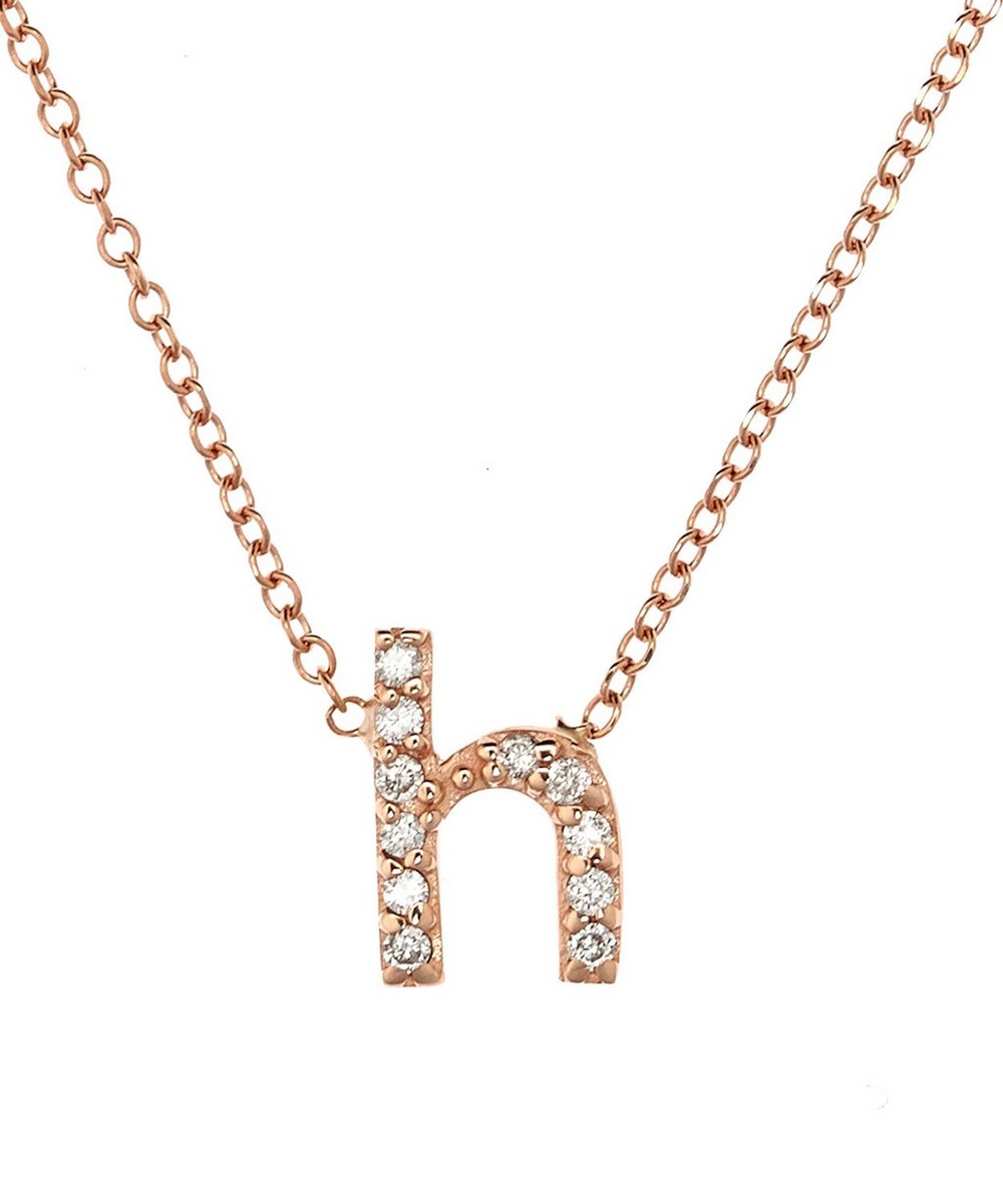 c3080a964 Rose Gold Diamond Letter H Necklace | Liberty London