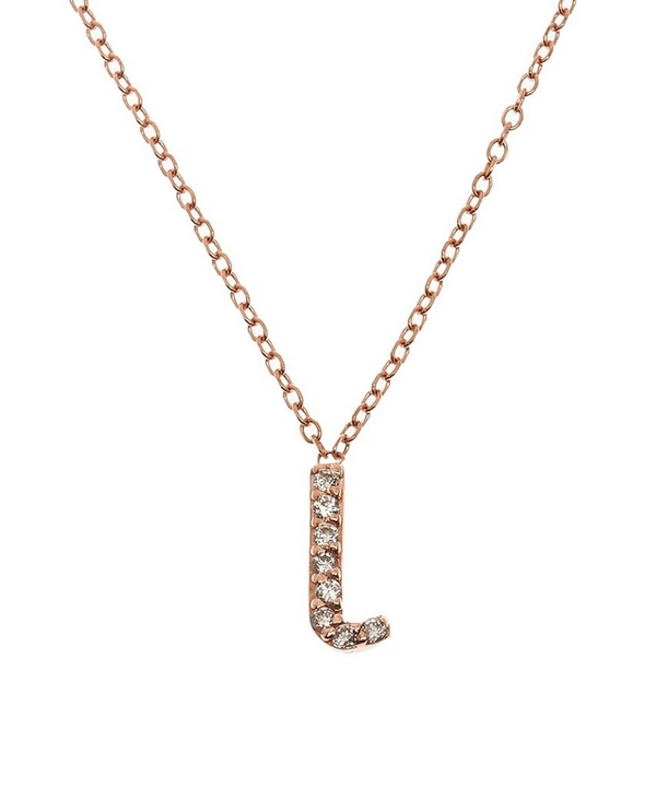 rose gold diamond letter l necklace